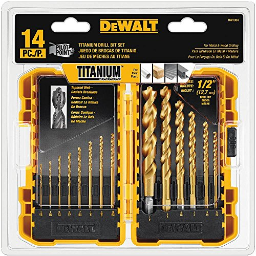 DEWALT DW1354 14-Piece Titanium Drill Bit Set, Yellow (Screw Point Wood Bit)