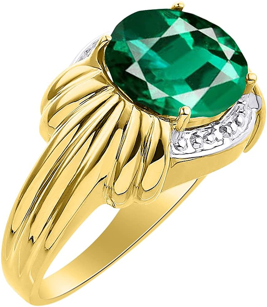12 X 10MM Color Stone Birthstone Ring Diamond /& Emerald Ring Set In Yellow Gold Plated Silver