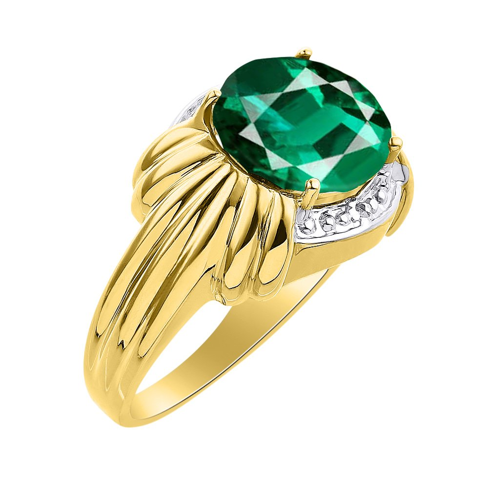 Diamond & Emerald Ring Set In Yellow Gold Plated Silver - 12 X 10MM Color Stone Birthstone Ring