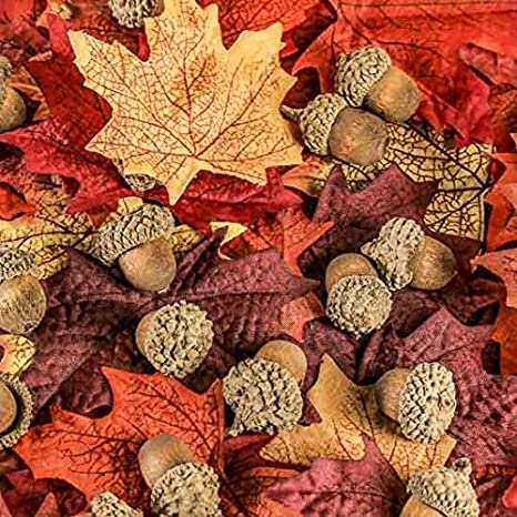 Factory Direct Craft Autumn Mix of Acylic Mini Pumpkins. and Colorful Maple Leaves for Fall Wedding Decororations and Home Decor