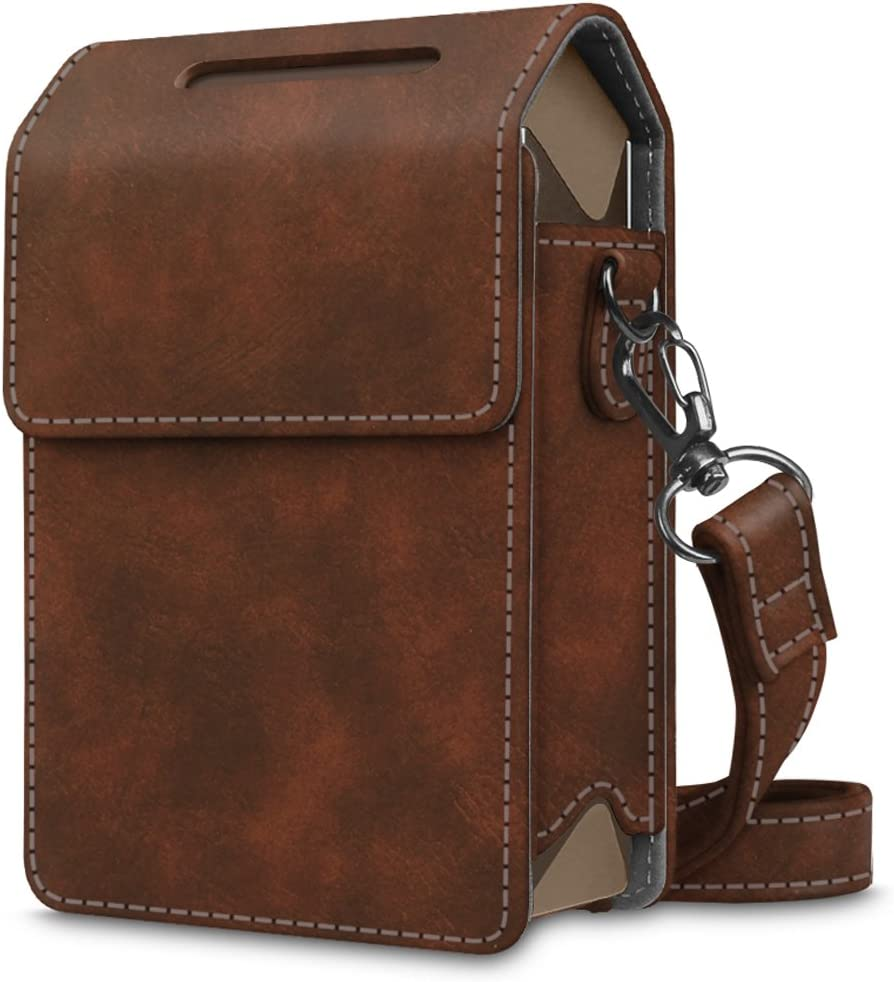 Fintie Protective Case for Fujifilm Instax Share SP-2 Smart Phone Printer - Premium Vegan Leather Bag Cover with Removable Shoulder Strap, Vintage Brown