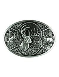 Senmi Deer Hunting Woods Buck Southern Antler Head Belt Buckle-with Senmi Box Wrapped (Silver)