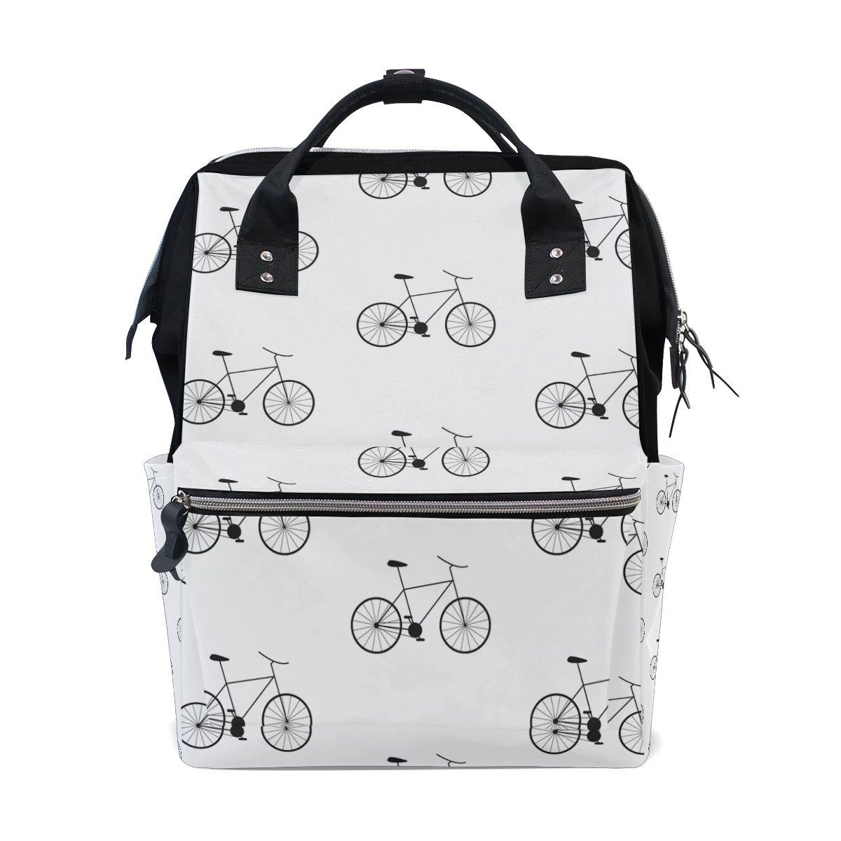 JSTeLノートパソコンカレッジバッグ学生旅行自転車Back andホワイト学校バックパックショルダートートバッグ   B078MK7SQS