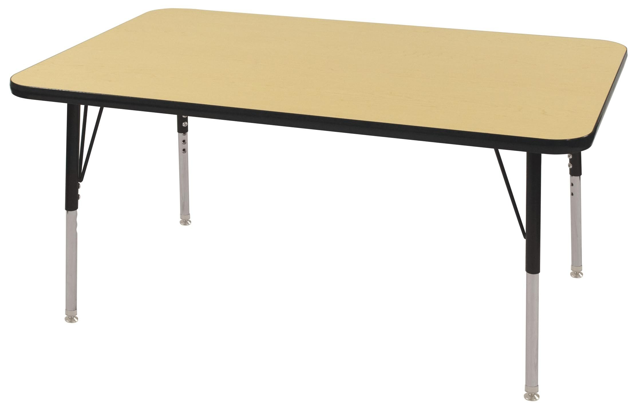 ECR4Kids T-Mold 30'' x 48'' Rectangular Activity School Table, Standard Legs w/ Swivel Glides, Adjustable Height 19-30 inch (Maple/Black) by ECR4Kids