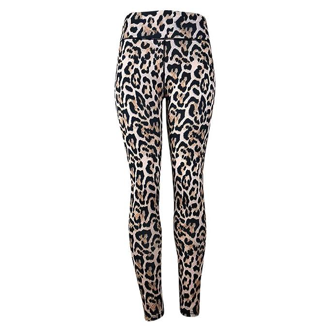 Pantalones Yoga Mujeres Estampado de Leopardo de Moda,Mallas pantalón Chandal Mujer Deportivos de Cintura Alta para Mujeres Running Fitness Leggings ...