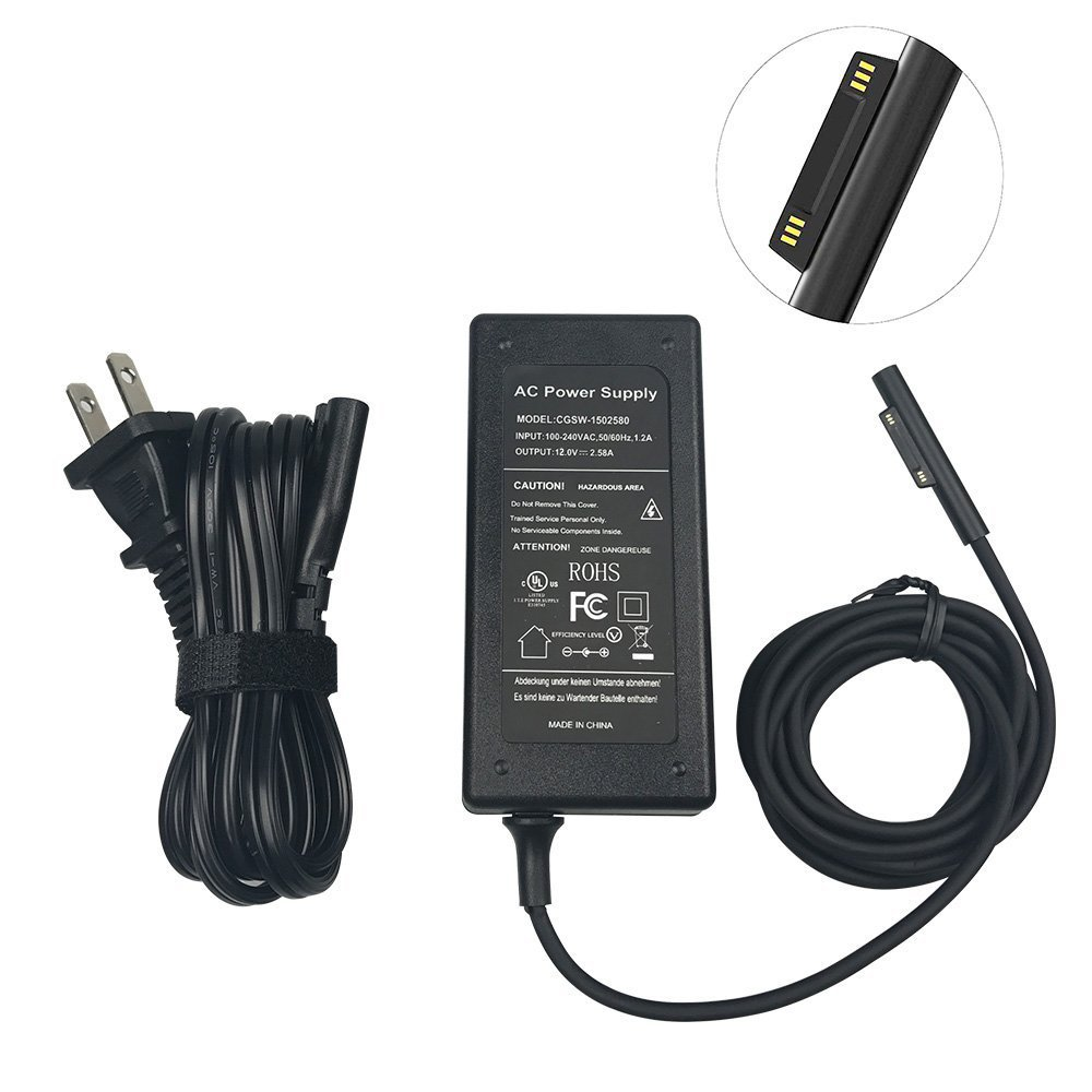 【Updated Version】 BOLWEO Surface Power Supply Adapter 12V 2.58A Charger Compatible with Microsoft Surface Pro 3 Surface Pro 4 Surface Pro 5 Intel Core i5 i7 Tablet (UL Listed)