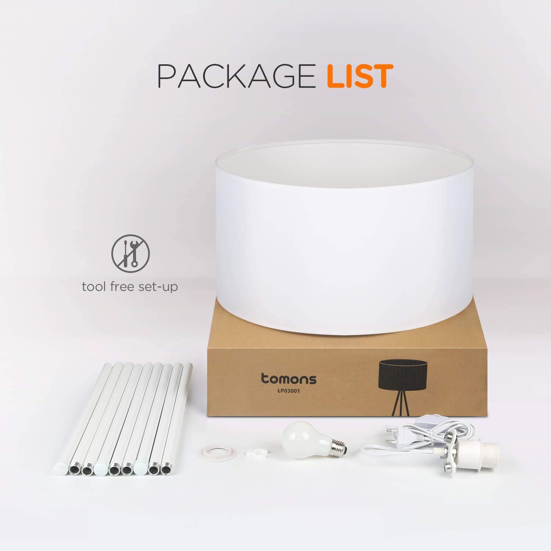 Bianco Stile Scandinavo Tomons Lampada da Terra LED Dimmerabile Contemporanea con Treppiede in Metallo per Soggiorno e Camera da Letto