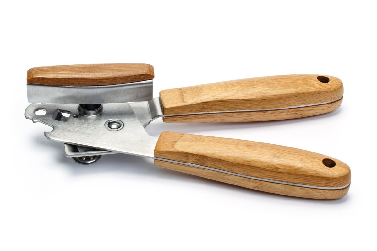 Manual Can Opener - Stainless Steel with Bamboo Wooden Handle - Kitchen Accessory Attached Bottle Opener Tool