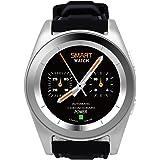 DT No.I G6 Bluetooth 4.0 Frecuencia Cardíaca Smartwatch Llamar Mensaje Remedio Pedómetro Monitor de sueño Remedio Sedentario Remoto Música y Cámara Anti-perdido Capacidad de la batería 380mAH para Android y IOS ( Plata + Negro )
