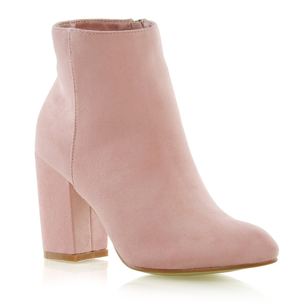 ESSEX GLAM Womens Casual Block Mid High Heel Smart Ankle Boots (8 B(M) US, Pastel Pink Faux Suede)