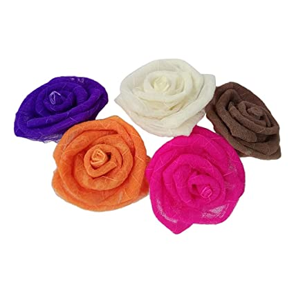 Amazon magideal 5 colors roses flower head artificial flowers magideal 5 colors roses flower head artificial flowers heads skeleton leaves for wedding flowers accessories mightylinksfo