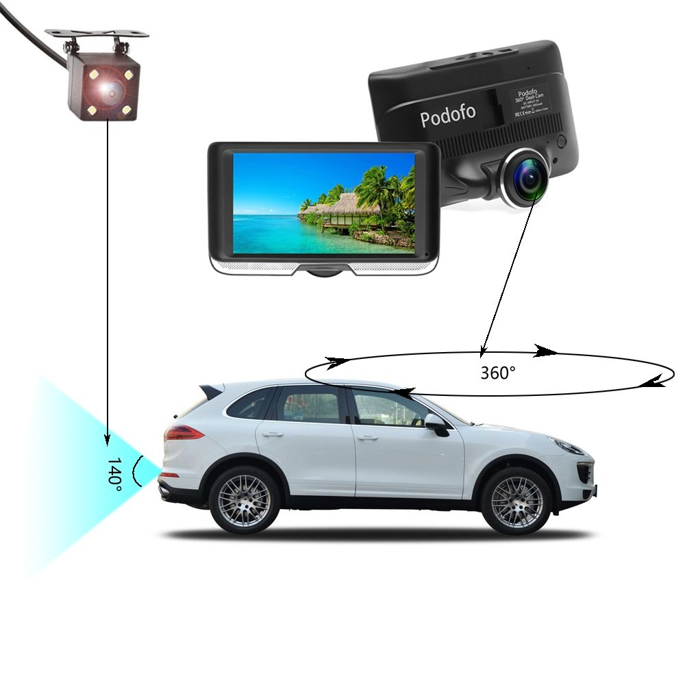 Amazon.com: Podofo Dashcam 360 Degrees Panoramic Dual Camera Car Driving Recorders DVR Car Video with Rear View Camera Gravity Sensor Night Vision: Cell ...