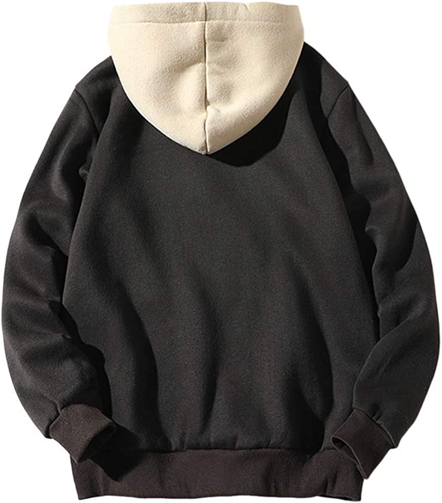 X-Future Men Classic Print Contrast Color Hooded Knit Pullover Sweater