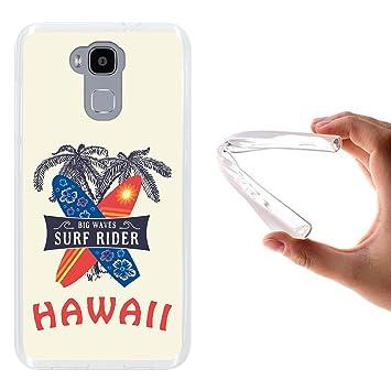 WoowCase Funda Doogee Y6 4G, [Doogee Y6 4G ] Funda Silicona Gel Flexible Hawaii Big Waves Surf Rider, Carcasa Case TPU Silicona - Transparente