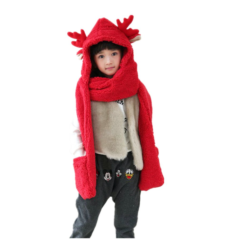 Cute Plush Hood Elk antlers Hat with Mitten Gloves Scarf Hood Gloves LL-Partner