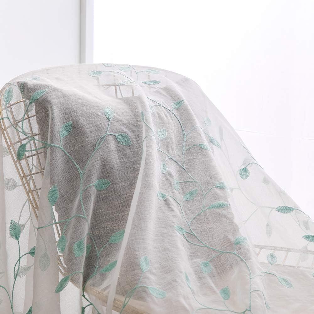 MIULEE Lot de 2 Voilages /à Oeillet Moustiquaire Broderie Decoration en Polyester Motifs de Feuilles Voile Rideaux de Fen/être D/écoratives pour Salon Chambre Bureau Gris 145 X 140cm H x L