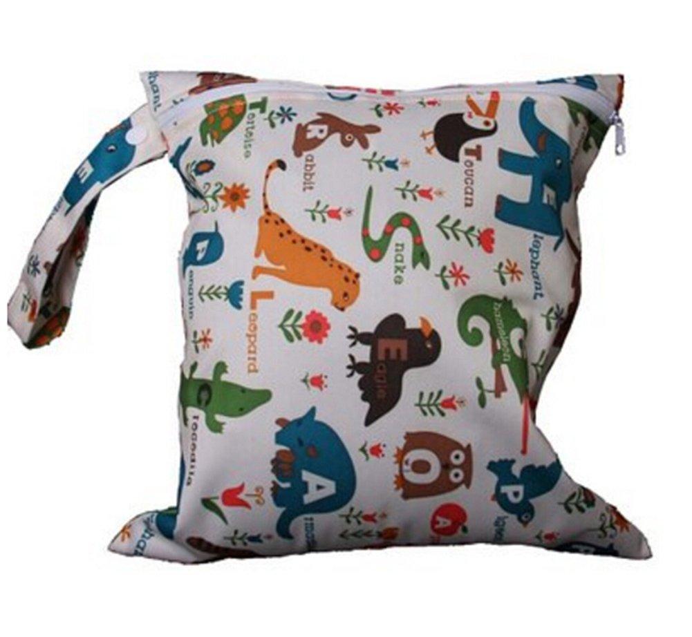 Cdet Bolsas de pañales para bebés Impreso bolsa de pañales con cremallera bolsa de pañales mojado doble tela del pañal reutilizable, Estilo A