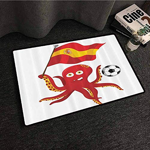 Funny Octopus Non-Slip Door mat Soccer Player Spain Flag European Football Barcelona Madrid Valencia Sports Lover Clip Accent for Male Machine wash/Non-Slip W31 xL47 Red Yellow White