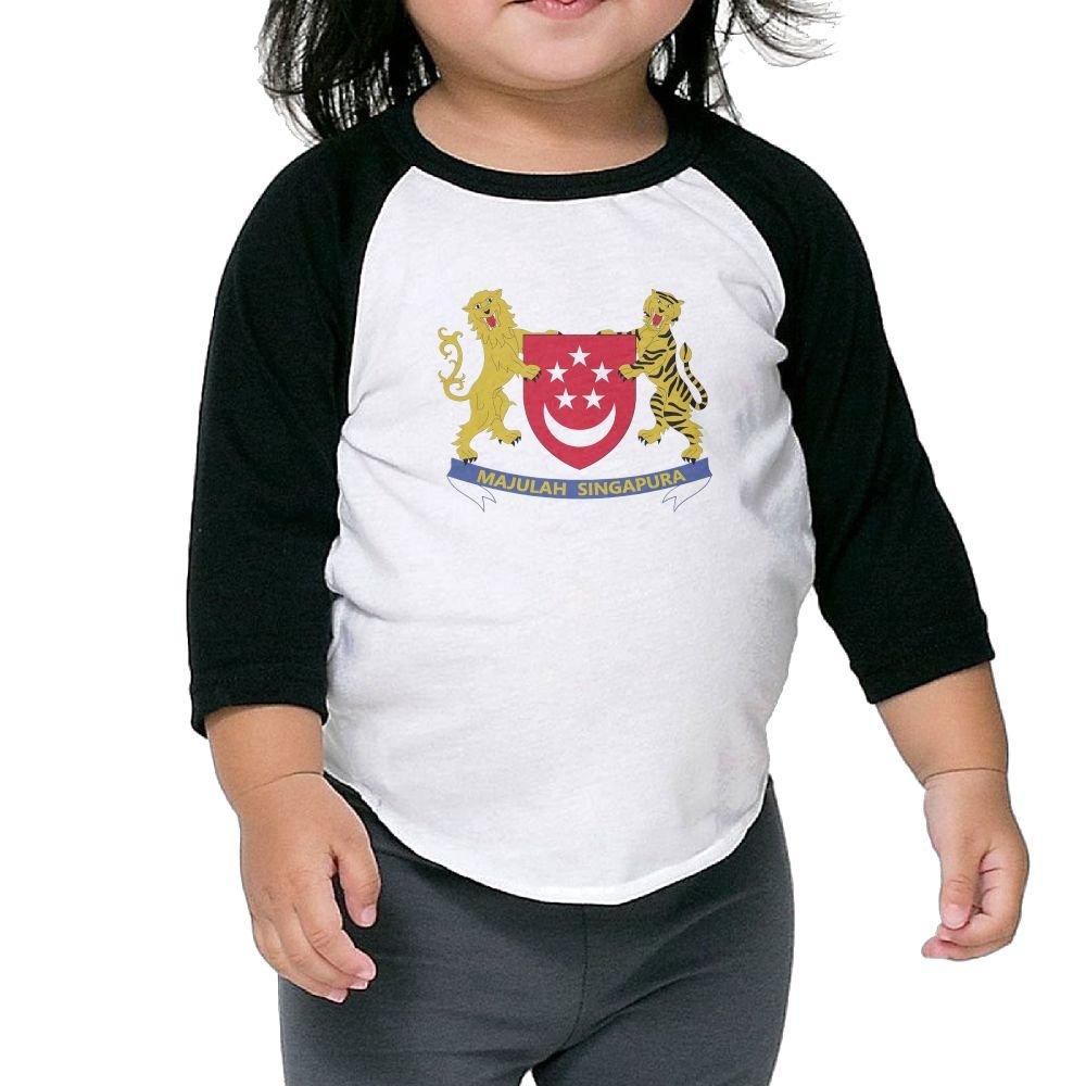 Coat of Arms Singapore Kids Raglan T Shirts Baseball 3//4 Sleeves for Boys Girls