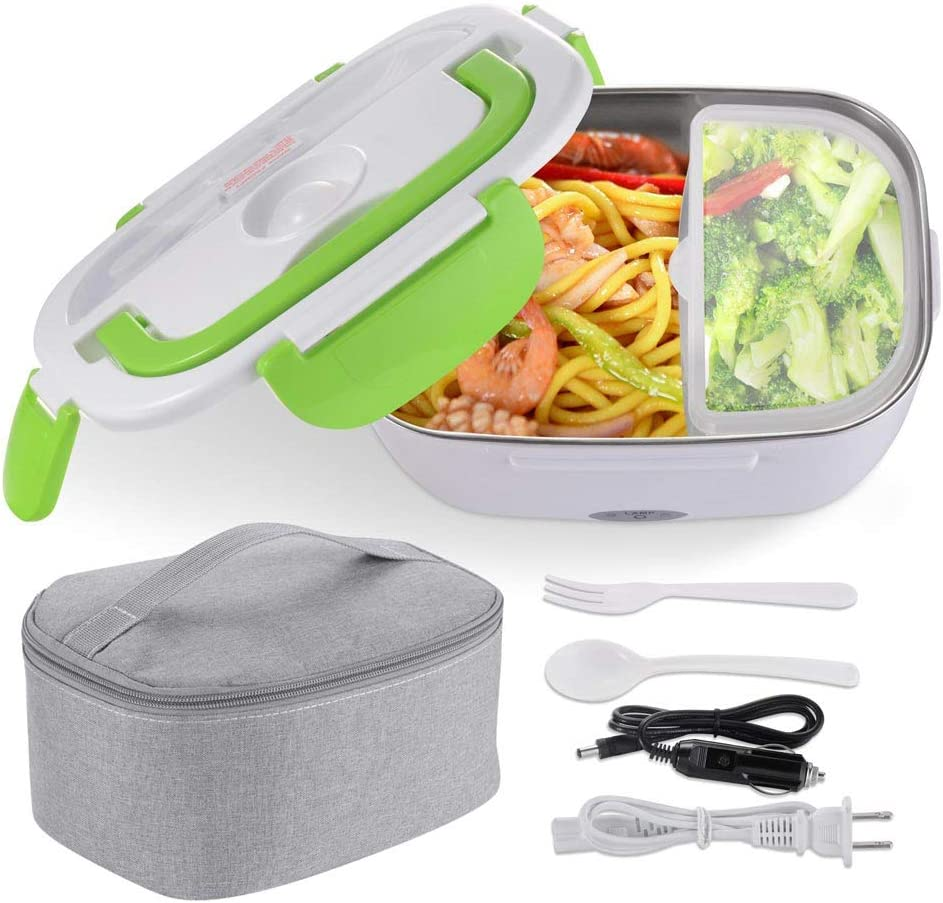 Yescom Electric Lunch Box 1.5L Portable Car Food Warmer Food Grade 304 Stainless Steel Container Lunch Heater Green