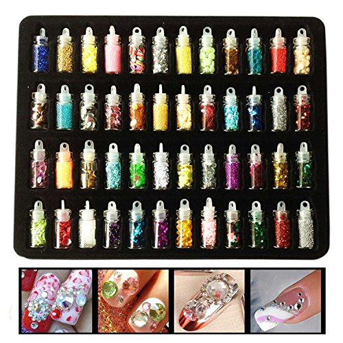 Costume Diy Unicorn (Lasten Nail Glitter, Colorful Mixed Sequins Glitter Manicure Art Crafts, 3D Mini Bottles Nail Art Set, DIY Art Decoration Set For Face Body Hair Nail Paint And Phone (48)