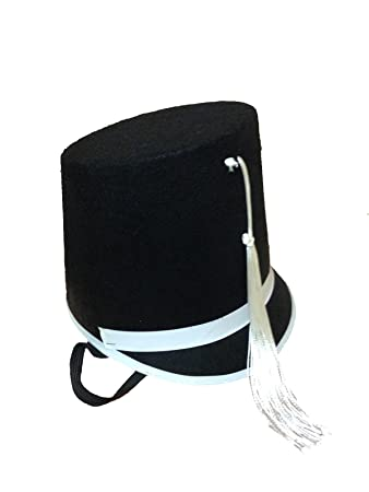 Drum Major Black Felt Hat With Chin Elastic