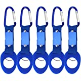 5 Pack Silicone Water Bottle Holder Hook W/ Key Ring - Hanging Buckle Mineral Water Bottle Clip Drink Holder Buckle for Outdoor Camping Hiking Traveling