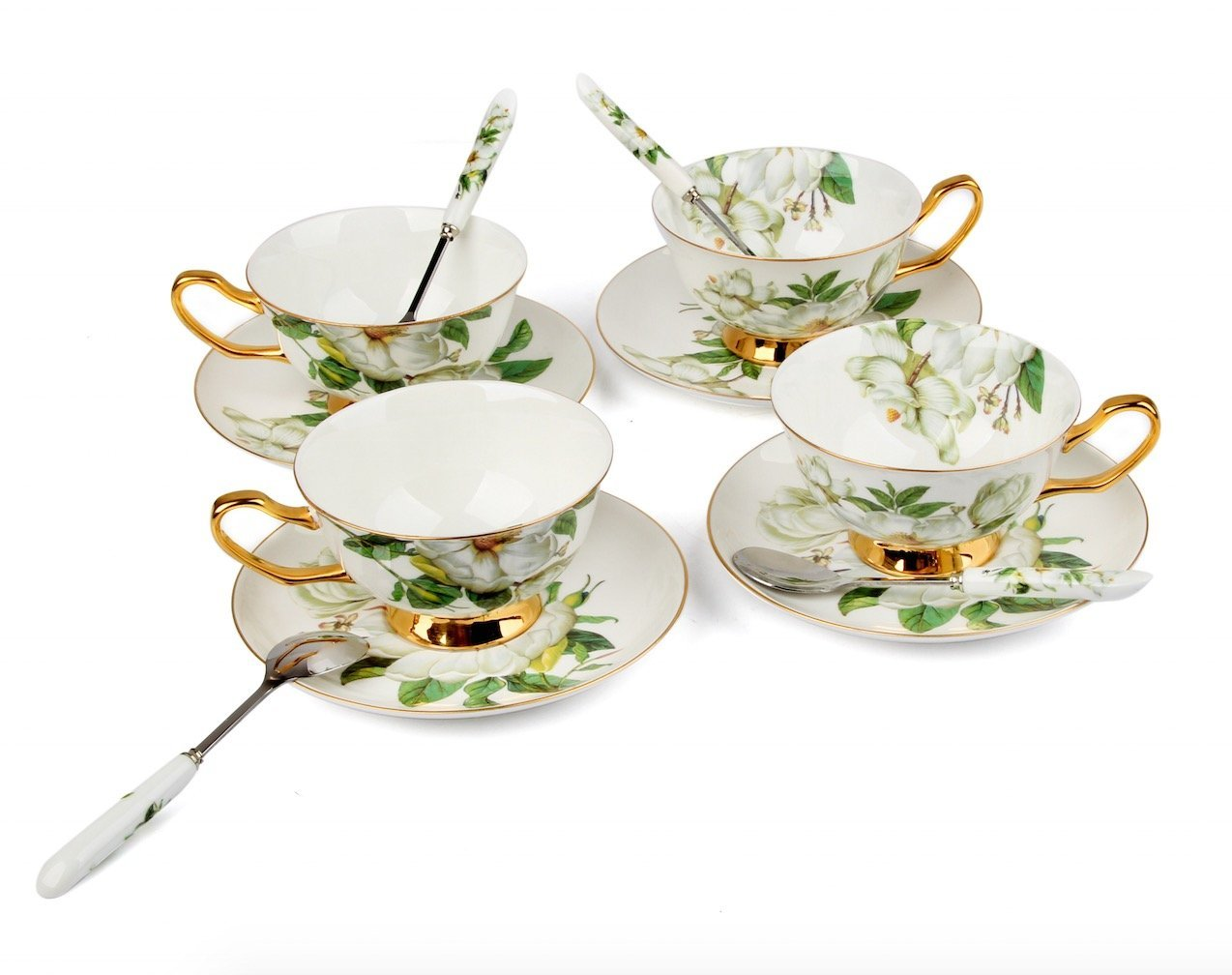 Magnolia Grandiflora Porcelain Tea Cup and Saucer Coffee Cup Set and Dinnerware (Cup Set of 4)