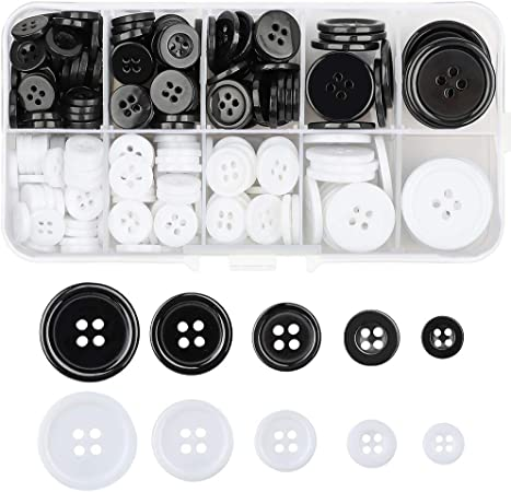 300 botones de resina para camisa de cuatro ojos, borde ancho, botones de costura, manualidades, costura y costura (blanco y negro): Amazon.es: Hogar