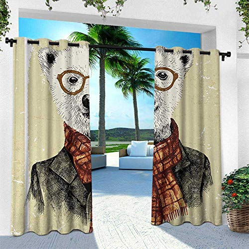 Hengshu Animal, Outdoor Curtain for Patio,Outdoor Patio Curtains,Hipster Bear with Glasses Scarf Jacket Wild Mammal Humorous Artwork, W96 x L84 Inch, Cream Dark Orange Black
