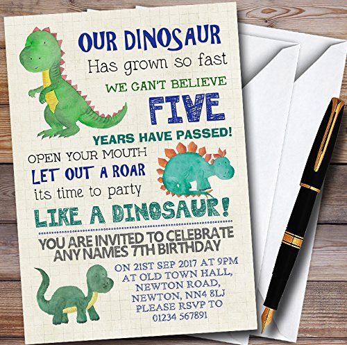 10 x Party Like A Dinosaur Personalized Childrens Birthday Party Invitations