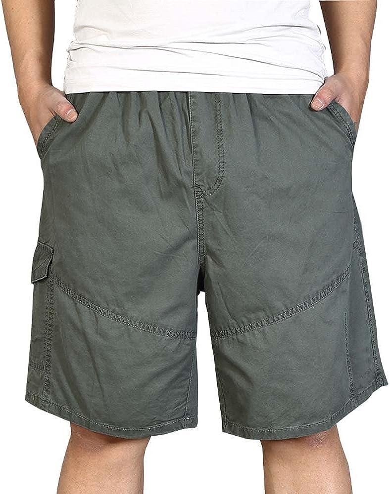 AUSZOSLT Men's Outdoor Breathable Lightweight Elastic Waist Cargo Shorts