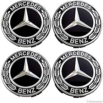 Autowoor Black Wheel Center Hub Caps Mercedes Benz,75mm/3 Inch Hub Cap Cover Car Fit for Mercedes Benz All Models with (4 pcs)