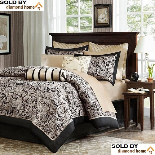 Luxury Black / Gold Paisley Bedding Comforter Set of 12, 100% Cotton, Full / Queen Size, Master Bedroom Heavenly Plush Soft Comfort, Beautiful Design