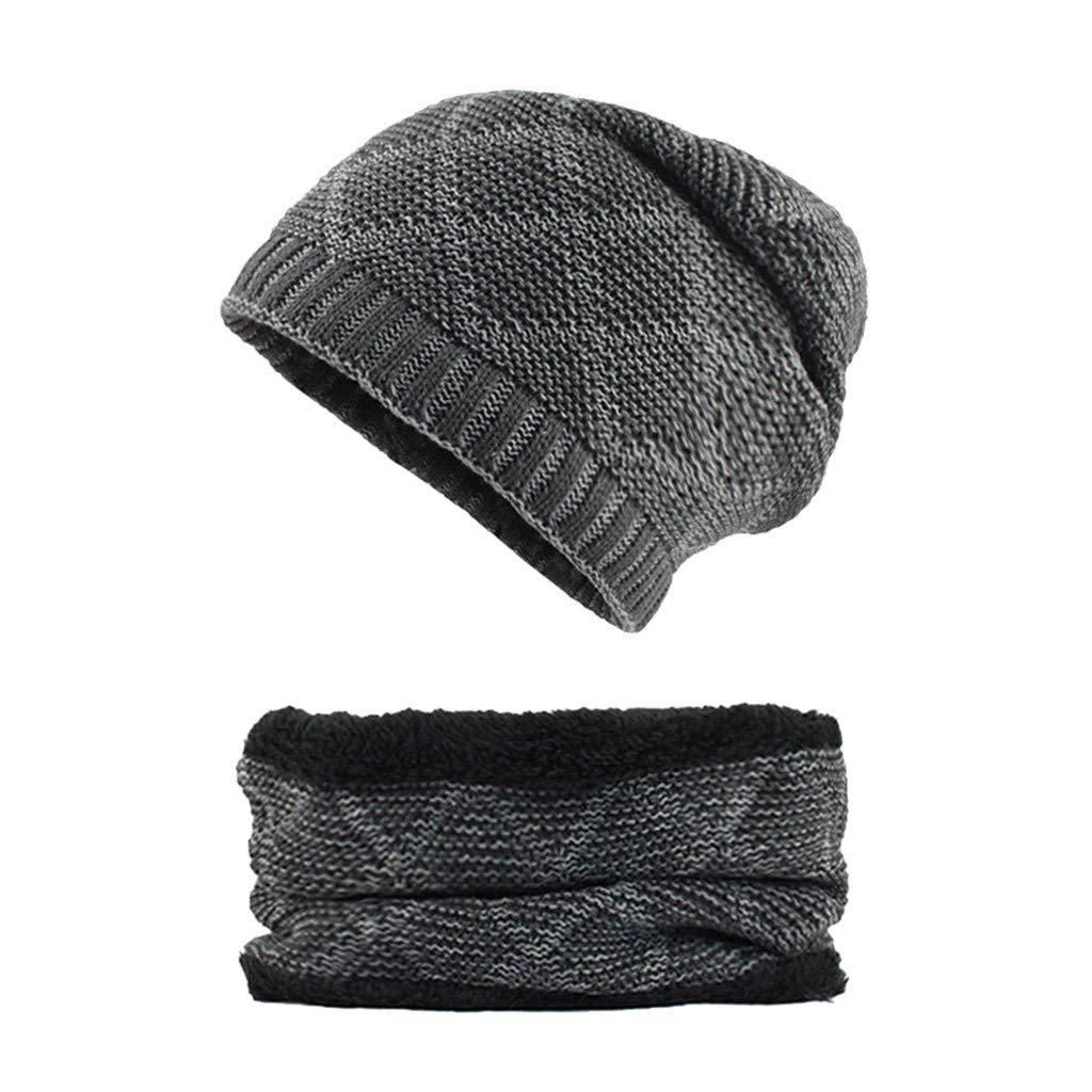 iDWZA Man Women 2-Pieces Villus Thicker Winter Beanie Hat Scarf SetKnit Hat Thick Knit