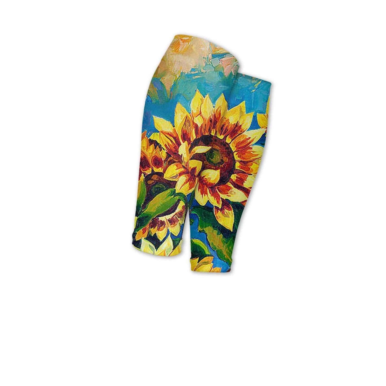 Smilelolly Oil Painting Sunflower Calf Compression Sleeves Helps Shin Splint Leg Sleeves for Men Women
