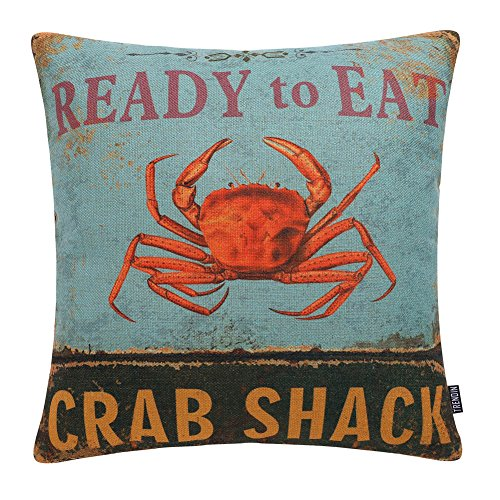 TRENDIN Vintage Ready to Eat Crab Shack Style Cotton Linen Square Decor Throw Pillow Covers, 18 x 18 Inches PL208TR