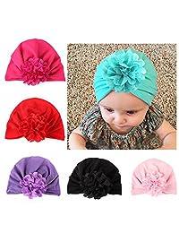 6 Pieces Bewborn Baby Hats Infant Turban Head Wrap Floral Head Cap