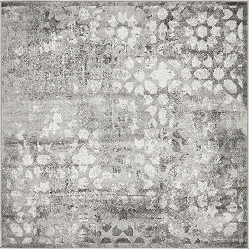 Unique Loom Sofia Collection Traditional Vintage Dark Gray Home Décor Square Rug (6' x 6') (Rug Gray Square)