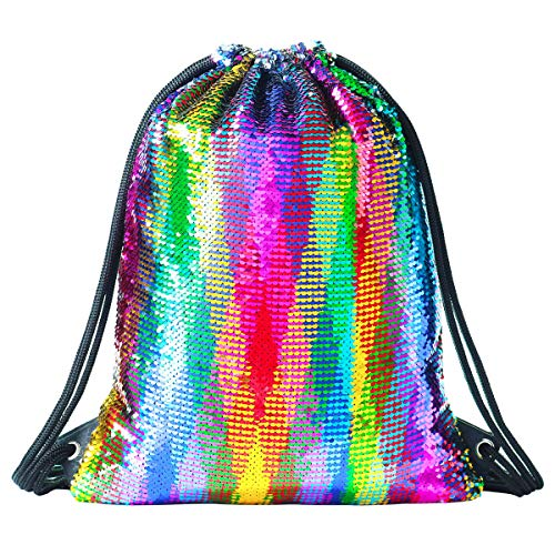 Rainbow Sequin Drawstring Backpack Gym Dance Bags Mermaid Magic Reversible Glitter Bag Unicorn Gift for Girls Daughter Boy Flip Sequin School Bag Birthday Gift for Kids Women]()