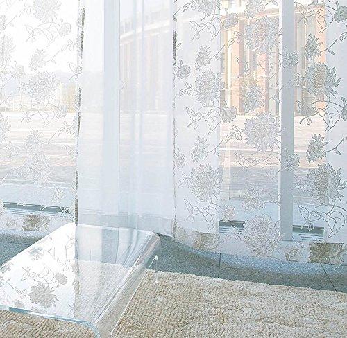 アスワン 繊細なラインで描かれた花のデザイン カーテン2倍ヒダ E6094 幅:200cm ×丈:240cm (2枚組)オーダーカーテン 240  B078C713MZ