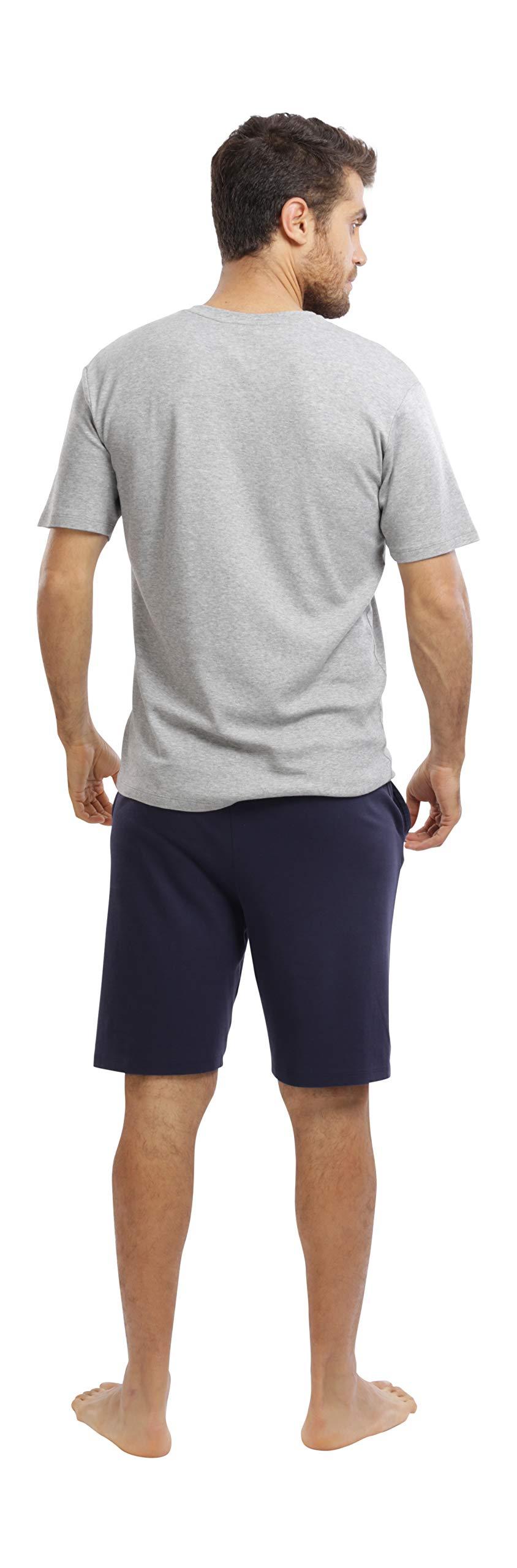jijamas Incredibly Soft Pima Cotton Men's Pajamas Set - The Weekender Shorts in Navy and Heather Grey by jijamas (Image #3)