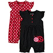 Wan-A-Beez Baby Boys' and Baby Girls' 2 Pack Graphic Short Sleeve Romper (6-9 Months, Red Ladybug)