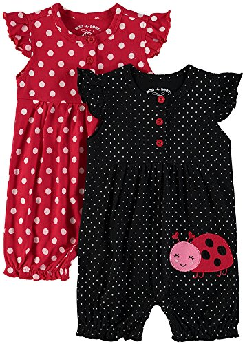 12 Ladybug - Wan-A-Beez Baby Girls' 2 Pack Embroidered Sleeveless Romper (Red Ladybug, 12 Months)