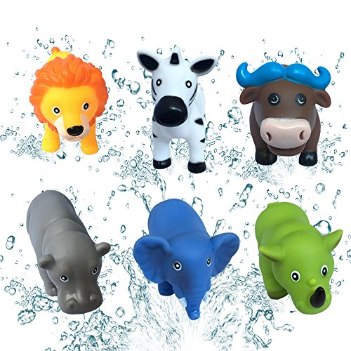 JollySweets 6PCS Floating Cute Animal Rubber Squeeze Sounded Bath Toys, Colorful and Lovely Bath Time Fun, Packed in Collect Bag ()