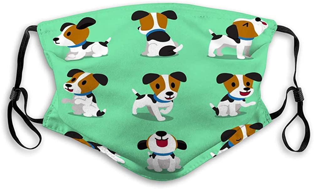 Face Shield Washable Mouth Covers Cartoon Character Jack Russell Terrier Dog Set Comfortable Covers