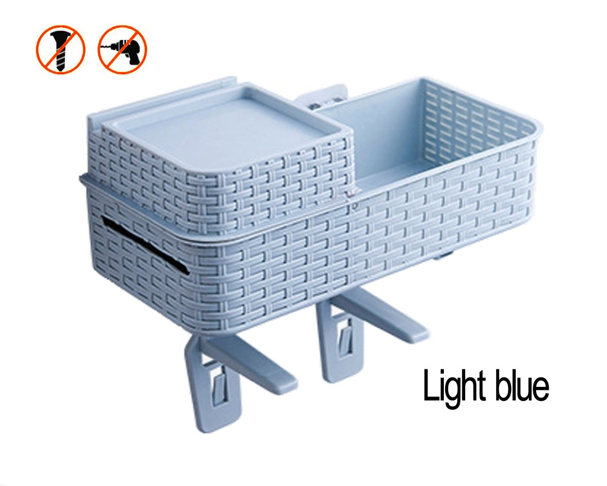 Acstar Multi-functional Suction Wall Toilet Rack Bathroom Hanging Storage Rack Kitchen Storage Basket Desktop Storage Basket Exempt from Punching Waterproof (Light blue) by Acstar (Image #2)