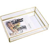 BEYST Bandeja de espejo, bandeja de almacenamiento de espejo de cristal, bandeja organizadora de cosméticos con borde…