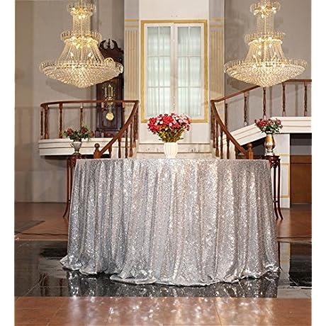 B SHINE Sequin Tablecloth Sequin Table Linen 70 Round Silver