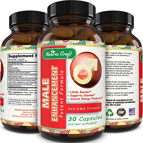 Pure And Potent Male Enhancement Pills - Natural Ginseng And Maca Root And Tongkat Ali - Powerful Testosterone Booster - Helps Build Muscle - Enhance Energy - Boost Immune System